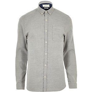Grey stretch casual muscle fit shirt