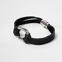 Black faux suede loop bracelet