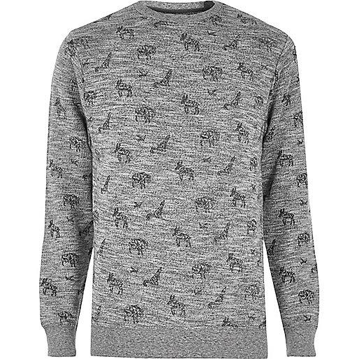 Bellfield – Graues Sweatshirt mit Animal-Print