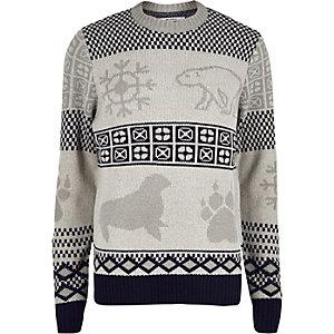 Pull de Noël Bellfield gris arctique