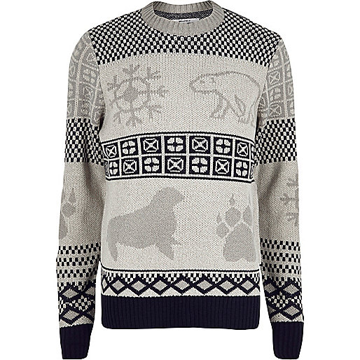 Bellfield grey arctic Christmas sweater