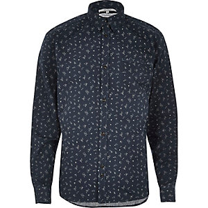Navy Bellfield shard print casual shirt