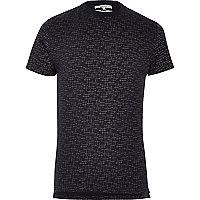Navy Bellfield crosshatch print T-shirt