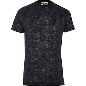 Navy crosshatch print T-shirt