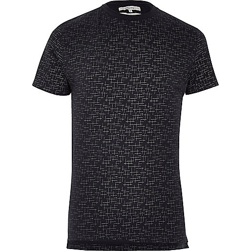 Navy Bellfield crosshatch print T-shirt