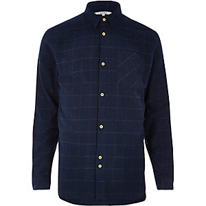 Navy Bellfield casual check shirt