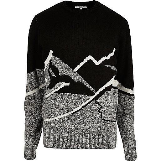 Pull de Noël Bellfield noir motif montagne