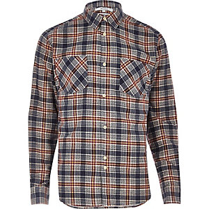 Bellfield red casual check flannel shirt