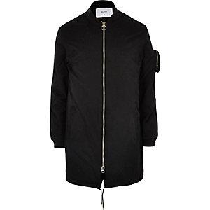 Bellfield black longline bomber jacket