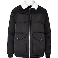 Black Bellfield fleece collar puffer jacket