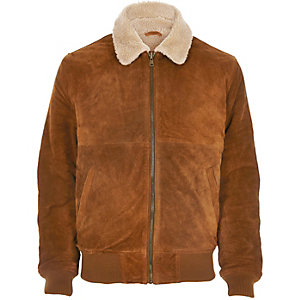 Brown Bellfield suede borg collar jacket