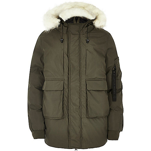 Khaki Bellfield faux fur trim hooded parka