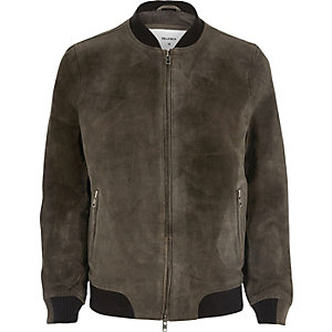 Grey Bellfield suede bomber jacket