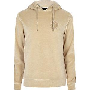 Camel velour logo hoodie