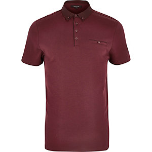 Dark red button polo shirt