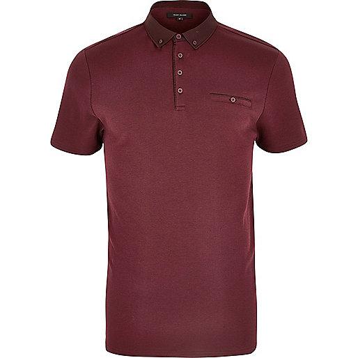 Burgundy button polo shirt
