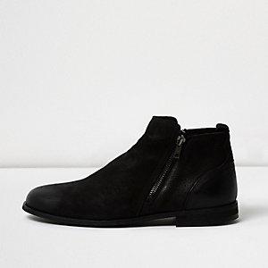 Bottines Chelsea zippées en cuir noir
