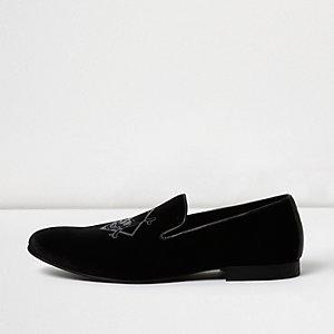 Black velvet skull print slipper shoes