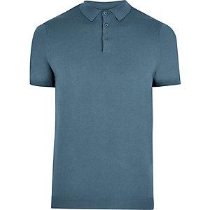 Blue slim fit polo shirt
