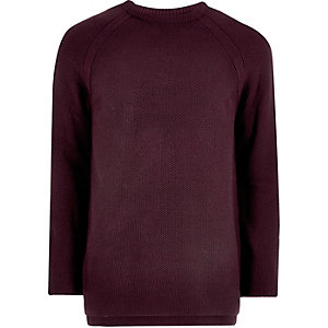 Purple textured crew neck sweater