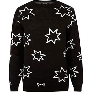 Black star print slim fit jumper