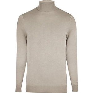 Light grey slim fit roll neck jumper
