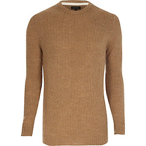 Light brown ribbed crew neck sweater
