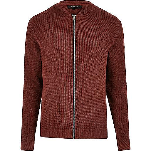 Dark orange textured knit bomber jacket