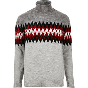 Grey Aztec roll neck jumper