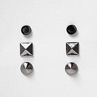 Gunmetal spike earrings pack