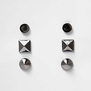 Gunmetal spike earrings pack