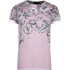 Pink faded floral print T-shirt