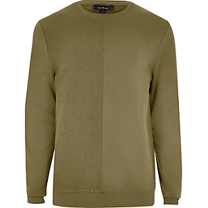 Khaki green seam sweatshirt