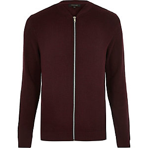 Dark red textured knit bomber jacket