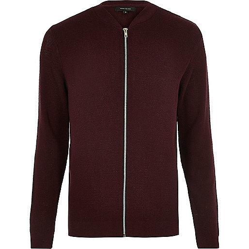 Burgundy textured knit bomber jacket