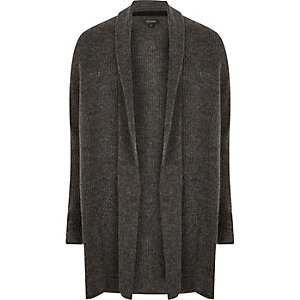 Dark grey ribbed wool cardigan