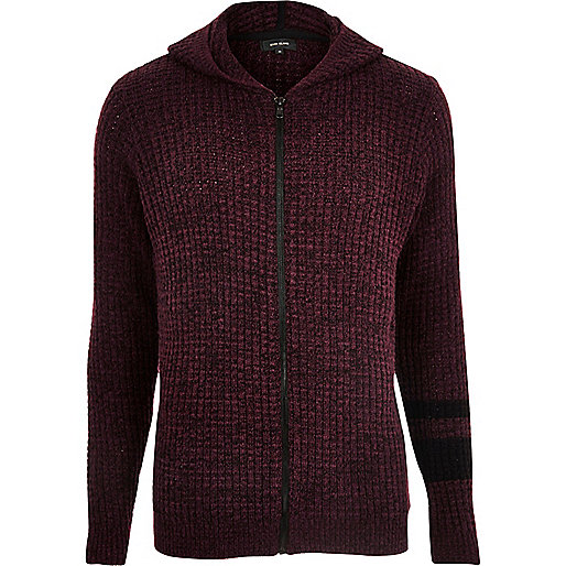 Dark red ribbed stripe hoodie