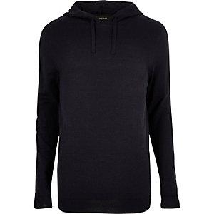 Navy blue slim fit casual hoodie