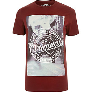 Dark red Jack & Jones Vintage print T-shirt