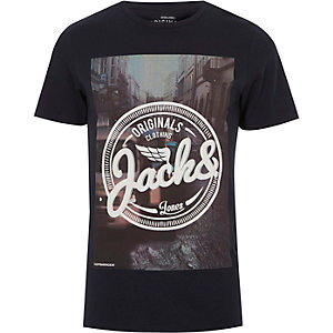 T-shirt bleu marine imprimé Jack & Jones