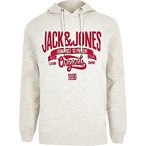 Grey Jack & Jones print hoodie