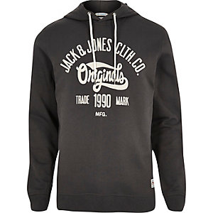 Dark grey Jack & Jones Vintage print hoodie
