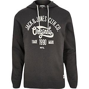 Dark grey Jack & Jones print hoodie