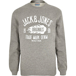 Light grey Jack & Jones print sweatshirt