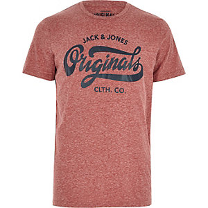 Red marl Jack & Jones print T-shirt
