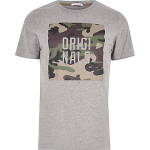 Grey marl Jack & Jones camo print T-shirt