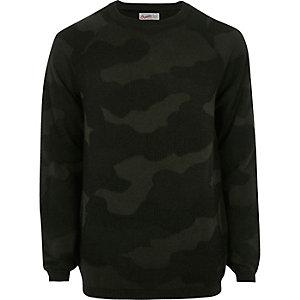 Dark green camo Jack & Jones Vintage jumper