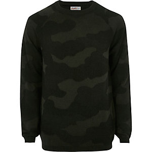 Dark green camo knit Jack & Jones jumper