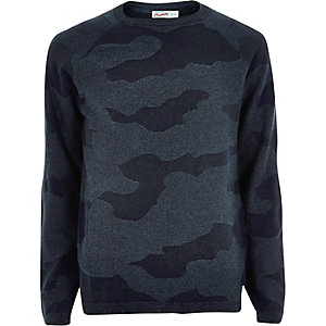 Navy camo knit Jack & Jones jumper