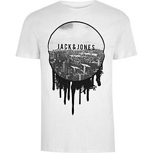 Jack & Jones – Weißes T-Shirt mit Vintage-Print